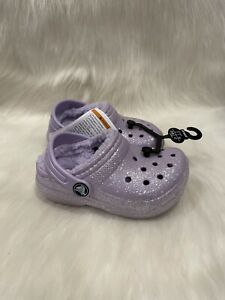 NEW Crocs Purple Glitter Sparkle Fur Lined Clog Toddler Shoes size C 7 NWT