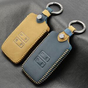 Brown Car Leather Key Holder Remote Cover Case For Renault models Keychain