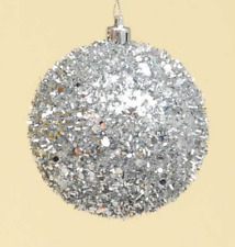 Silver Glitter Ball / Baubles 80mm Christmas Decorations Pack x6 Large