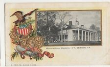 USA, Washington's Mansion, Mt. Vernon Early Embossed Postcard, B375