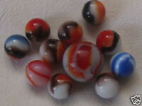 10 Vintage Akro Agate Slag Glass Marbles and One Shooter Vitro Reds, Peltier