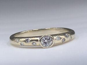 14k white gold Bezel Set Diamonds .15 TCW Wedding Band Ring Sz 5