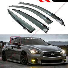 VIP JDM CLIP-ON SMOKE TINTED WINDOW VISOR W/ BLACK TRIM FOR 2014-19 INFINITI Q50