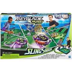 NEW Beyblade Burst Turbo Slingshock Cross Collision Battle Playset Birthday Gift