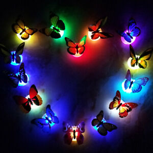 12Pcs 3D Colorful Changing Butterfly LED Night Light Lamp Room Party Wall Decor