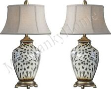 Contemporary ANIMAL PRINT Table Lamp PAIR Set Leopard HORCHOW Modern Jungle