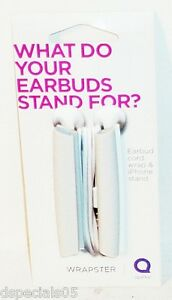 Quirky Wrapster Earbud Cord Wrap & iPhone Stand WHITE New & Carded