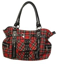 Banned Red Tartan Handbag Rockabilly Shoulder Cross Body School Bag Gothic Emo