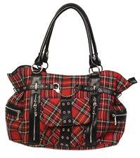 Banned Red Tartan Handbag Rockabilly Shoulder Cross Body School Bag Gothic Emo
