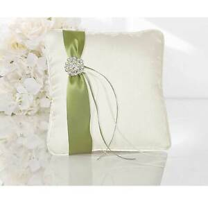 Ring Pillow Wedding Cream/ Green with Beads 20 X 20 CM Ring Holder