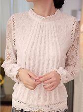 Bluse Top SPITZE Gr. L XL 40 42 Lace GUIPURE Long Sleeve Blouse Shirt SIZE L XL