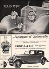 Hooper Rolls Royce BEST CAR IN THE WORLD Royal Coachbuilders 1936 Print Ad