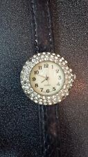 Cute ladies faux snakeskin Accutime iced out crystal bezel quartz watch