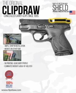 Clipdraw Belt Clip for Smith & Wesson M&P Shield 9mm & .40 IWB OWB Black Ambi