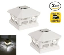 2-Pack Off White 5X5 PVC Outdoor Garden Solar Post Deck Cap Square Fence Lights