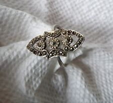Ornate vintage Marcasite 925 Sterling Silver Ring romantic size 6.75 Tlc