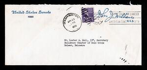 U.S. SENATE COVER JOHN J. WILLIAMS 3¢ PREXIE TIED WITH DUPLEX CANCEL 1954