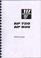 Welger AP 730 & AP 830 Baler Operator Instruction Manual Book