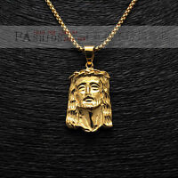 """Men 18K Gold Plated Filled Hip Hop Stainless Steel Jesus Head Pendant 24"""" Chain"""