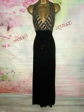 MONSOON STUNNING FULL LENGTH BLACK SEQUINED MAXI DRESS SIZE 16