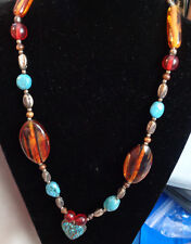 GREAT UNIQUE NECKLACE  NATURAL AMBER, TURQUOISE & JASPER STONES  28' Neckwear ho