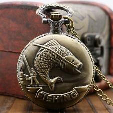 Fashion Bronze Fishing Angling Men Women Quartz Pocket Watch Pendant Chain Gift