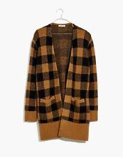 NWT Madewell Women Wool Caramel Black Kent Buffalo Check Sweater Cardigan (S)