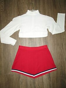 "Teen 12/14 Cheerleader Uniform Outfit Costume White 32"" Crop Top Red 25"" Skirt"