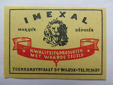 IMEXAL MATCHES MATCH BOX LABEL c1950s NORMAL SIZE BELGIUM MADE LION HEAD PICtd