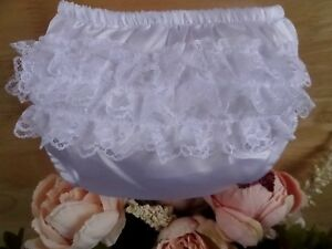 Baby Girl White Satin Lace Frilly Pants Knickers Christening Occasion 0-6-12m