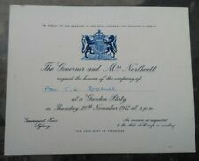 1947 AUSTRALIA INVITATION GOV. NORTHCOTT AT T. CAHILL FOR MATRIMONIO QUEEN
