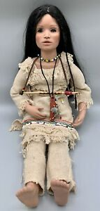 Native American Indian Porcelain Doll, Burlap Clothes, Leather Knife Sheath