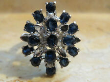 Retro Stacked Sapphire Cocktail Ring in Sterling 1.75ct Size 6