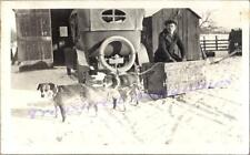 1920s Teen Boy Border Collie Terrier Dogs Pull Primitive Wagon Dog Sled Photo