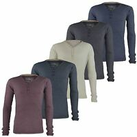 MENS V-NECK BUTTON TOP JERSEY RIBBED SWEATSHIRT LONG SLEEVE T-SHIRT SIZES S-2XL