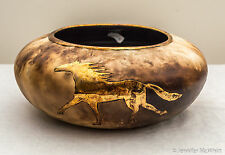 USA-Made Pit-Fired Porcelain Bowl w/ Gold Horse Portrait by Blue Sky Porcelain