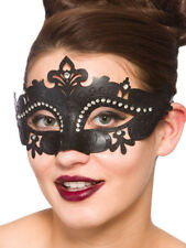 Ladies Demonte Masquerade Mask Fancy Dress Ball Burlesque Carnival Black Adult