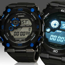 OHSEN Mens Womens 12/24 Hrs Alarm Military Army Digital Sport Watch Quartz Blue