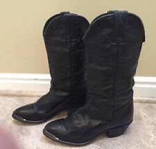 DURANGO Black Leather Slouchy Western Cowboy Metal Tip Ranch Boots Womens 6 EUC