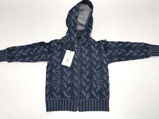 D&G New Boys Kids BLUE SWEATER PRINT HOODED SWEATSHIRT Sz: 5 RTL: $260 P350