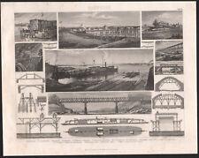 1870 Gravure originale construction chemins de fer locomotive pont ferroviaire