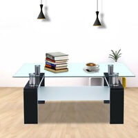Coffee Table Glass Modern Shelf Wood Living Room Furniture Rectangular Black Hot