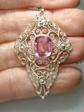 VINTAGE 800 SILVER FILIGREE PINK ICE PENDANT NECKLACE!