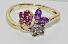 9ct Gold Tourmaline Sapphire & Amethyst Cocktail Ring size O - Solid 9k Gold