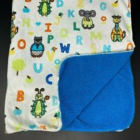 Avon Tiny Tillia White Baby Blanket Blue Sherpa ABC Letters Animals Frog Dog Owl