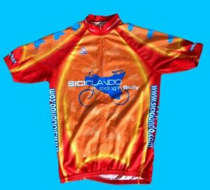 Sicily 3M Orange Sport Team Cycles Cycling Jersey Shirt Top Size Small