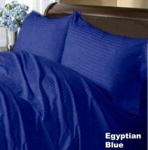 Egyptian Blue Striped Split Corner Bed Skirt Choose Drop Length US Size 800 TC