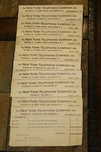 Lot of 13 New York Telephone Company Paid Receipts 1912-1913~RARE~#534C