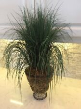 X Large Foliage Faux Artificial Grass Plant Black French Metal Wire Basket Urn