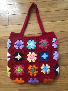 Crochet Granny Squares Red bag  New